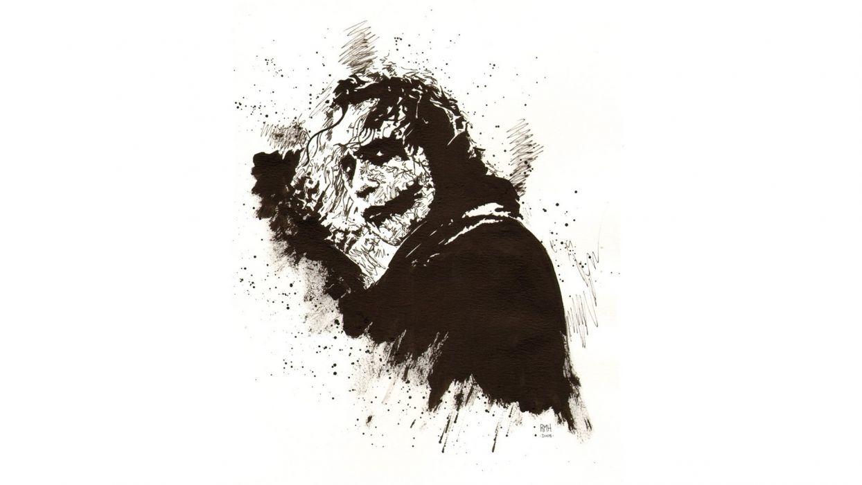 Batman The Dark Knight Joker Drawing White wallpaper
