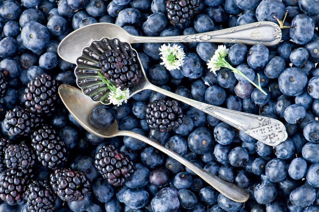 berries blueberries blackberries spoons flowers bokeh wallpaper