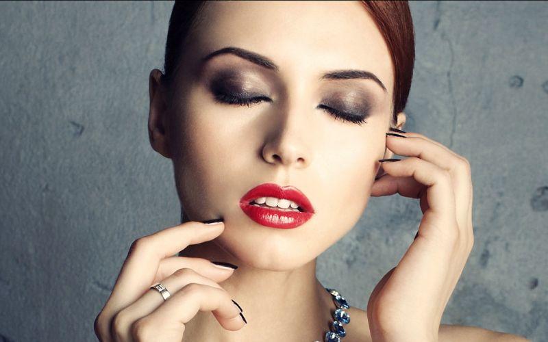 Girl Woman Beauty Face Brunette Eyes Closed Hands Ring Lipstick wallpaper