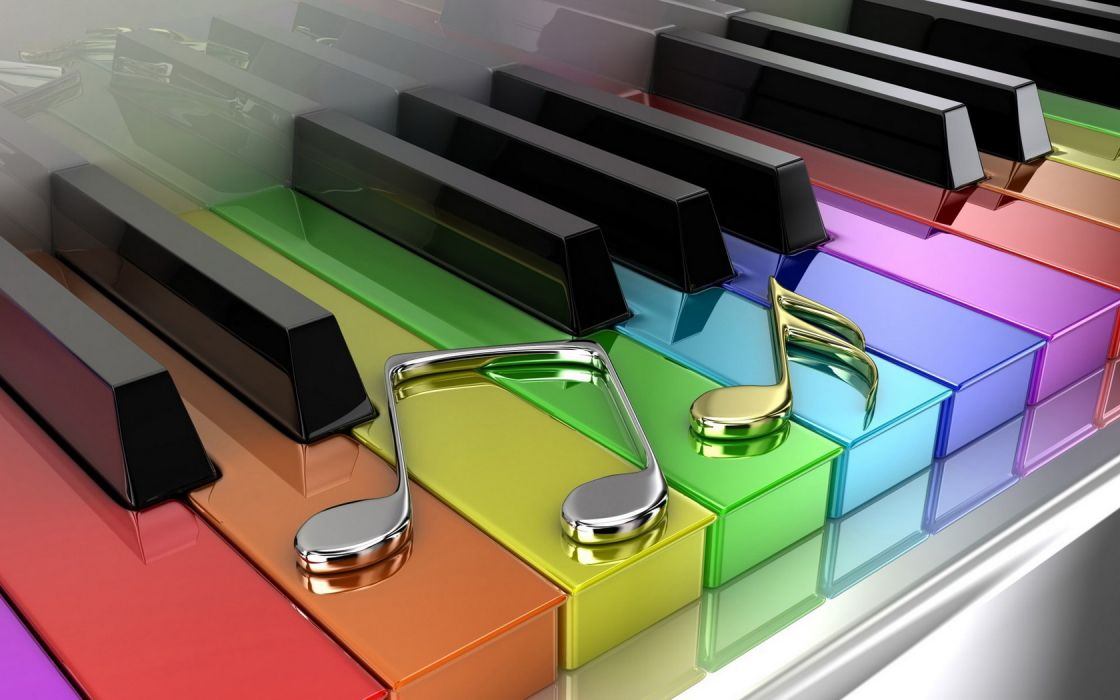 3D Piano Coloured Keys wallpaper