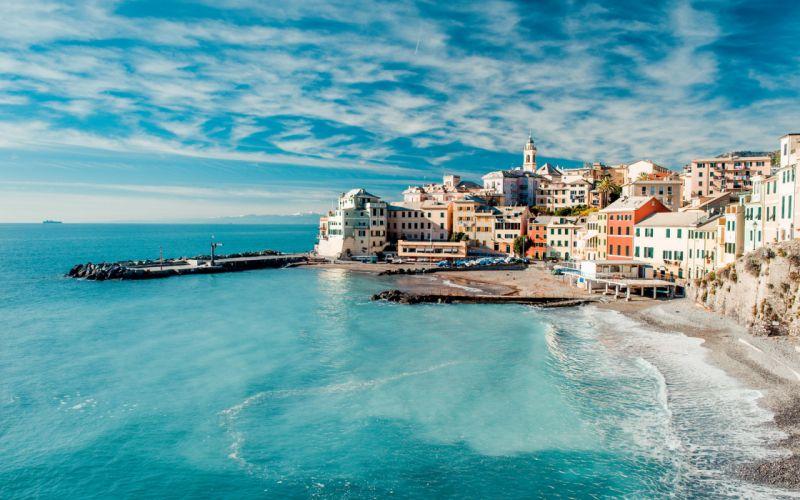 City Sea Architecture Sky Clouds wallpaper