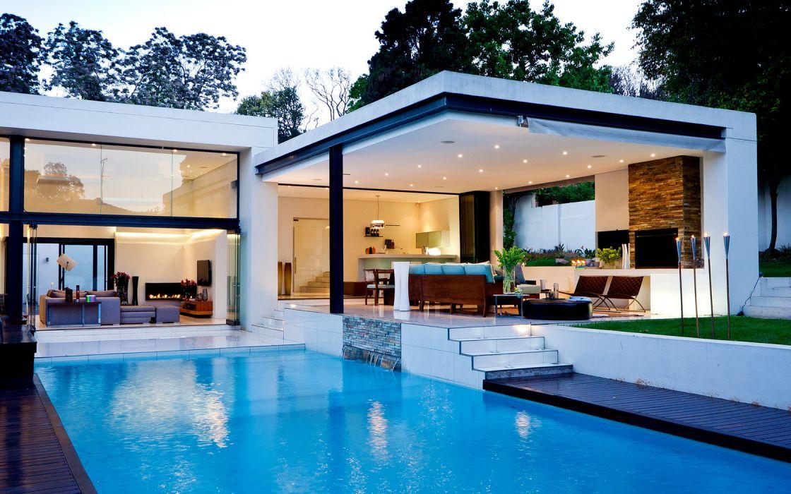 Architecture Swiming Pool House Modern wallpaper