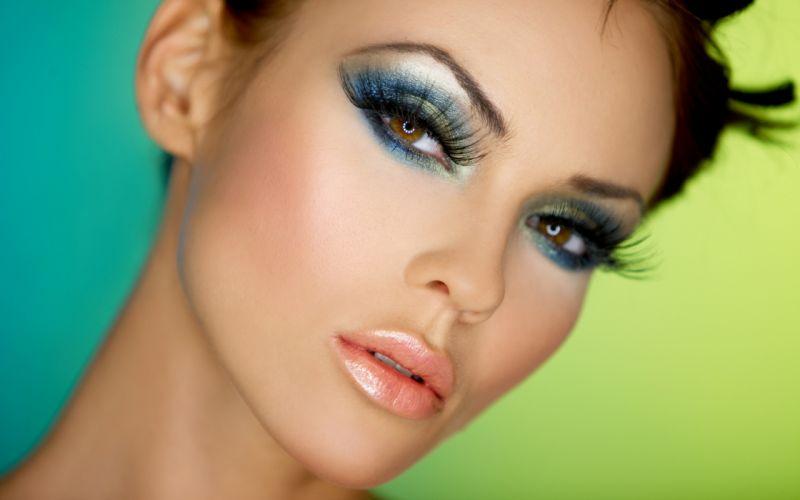 Girl Woman Beauty Brunette Beautyful Face Red Lips Brown Eyes wallpaper
