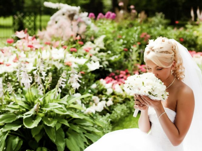 bride wedding dress mood love flower blonde wallpaper