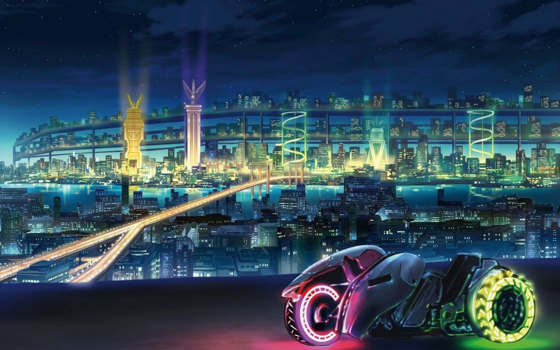 bridges science fiction motorbikes cities neon wallpaper
