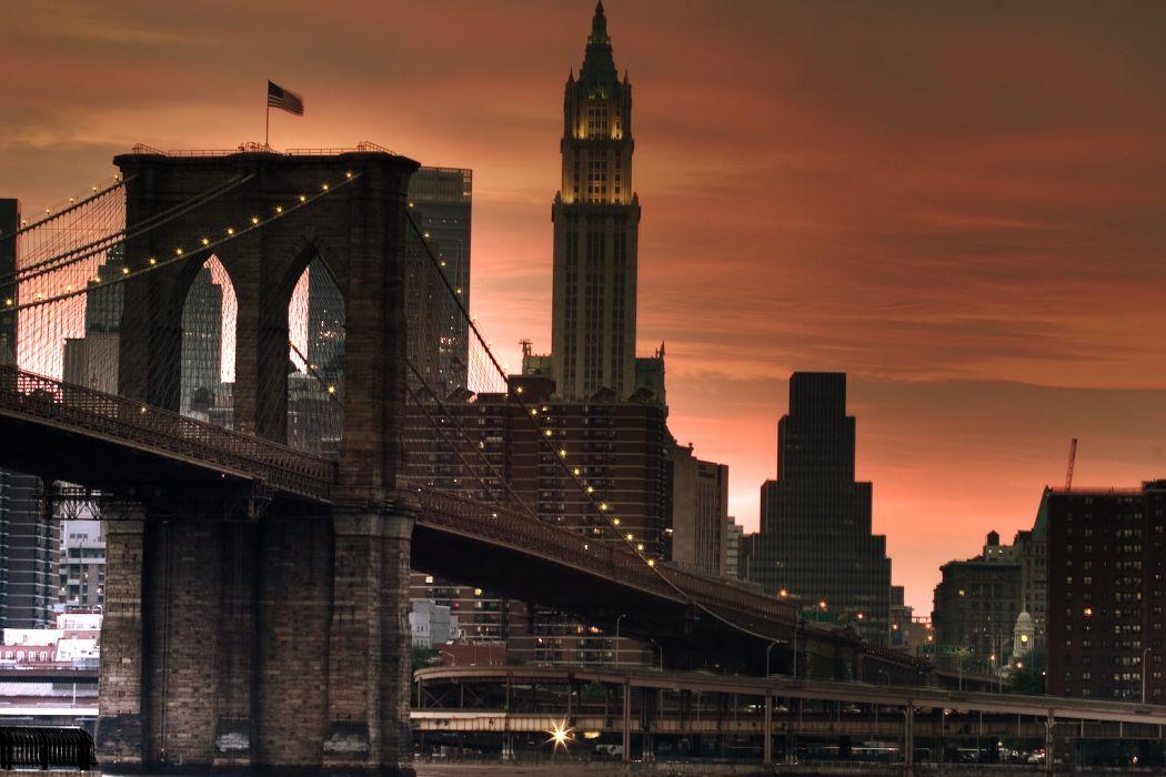 Brooklyn Bridge Bridge Buildings Skyscrapers New York wallpaper