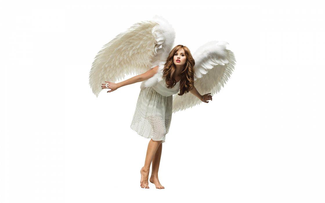 Brunette Wings White Skirt Debby Ryan angel angels wallpaper