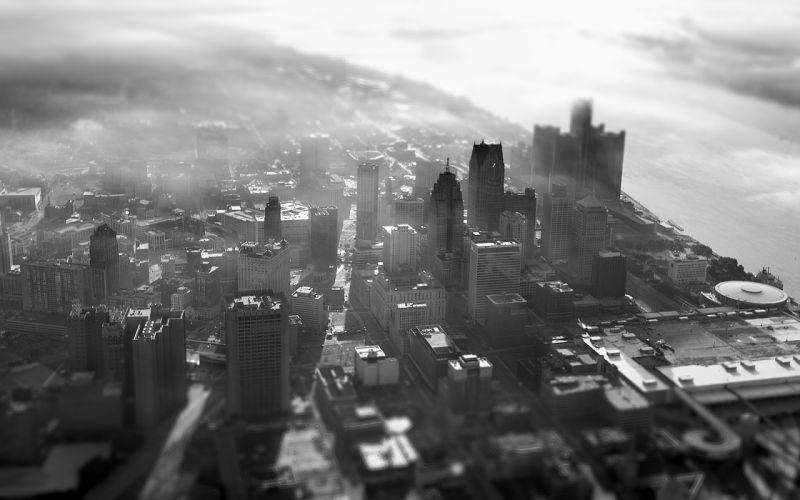 Buildings Skyscrapers BW Tilt-Shift Fog Mist wallpaper