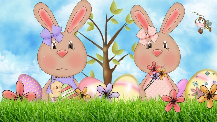 bunny easter egg flower art wallpaper
