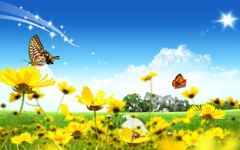 butterflies flowers 3d wallpaper