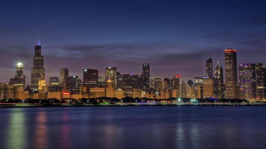 Chicago Buildings Skyscrapers Night wallpaper