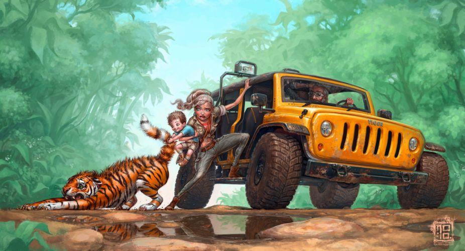 child family Tirgu pulls tiger jeep art wallpaper