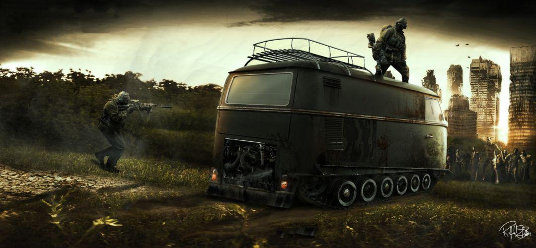 city aeYaeY car apocalypse zombies stalker apocalyptic wallpaper