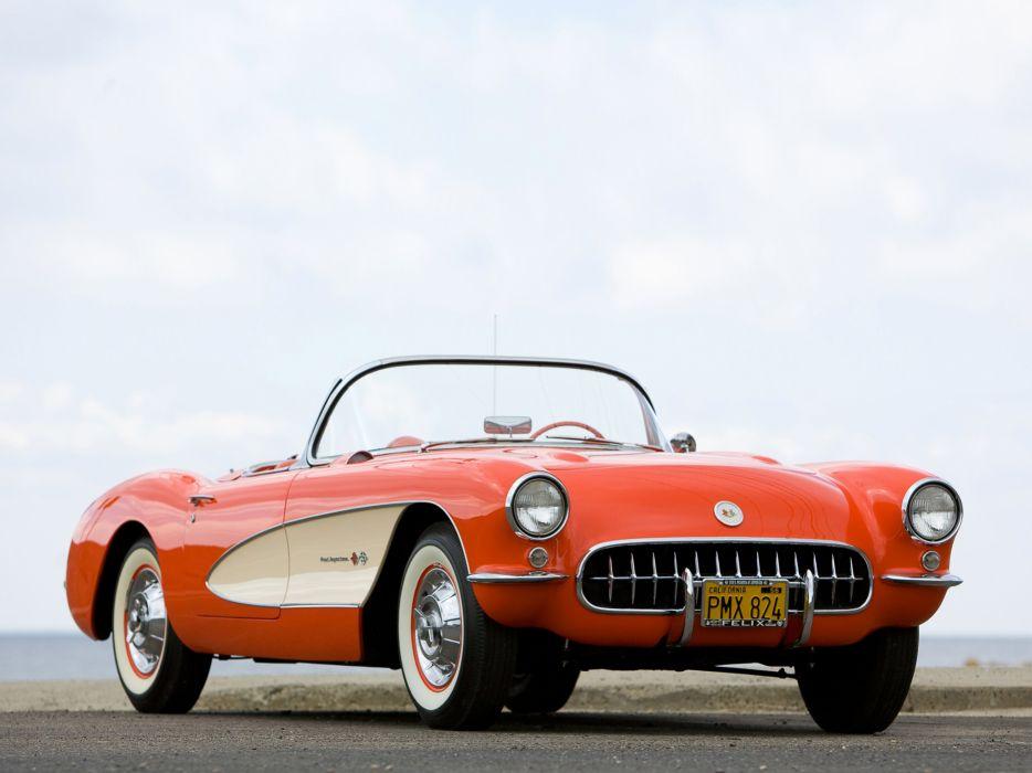 1957 Chevrolet Corvette C-1 Fuel Injection retro muscle supercar supercars  da wallpaper