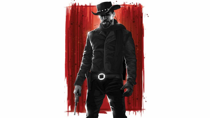 Django Unchained Jaime Foxx Hat Cowboy White Drawing wallpaper