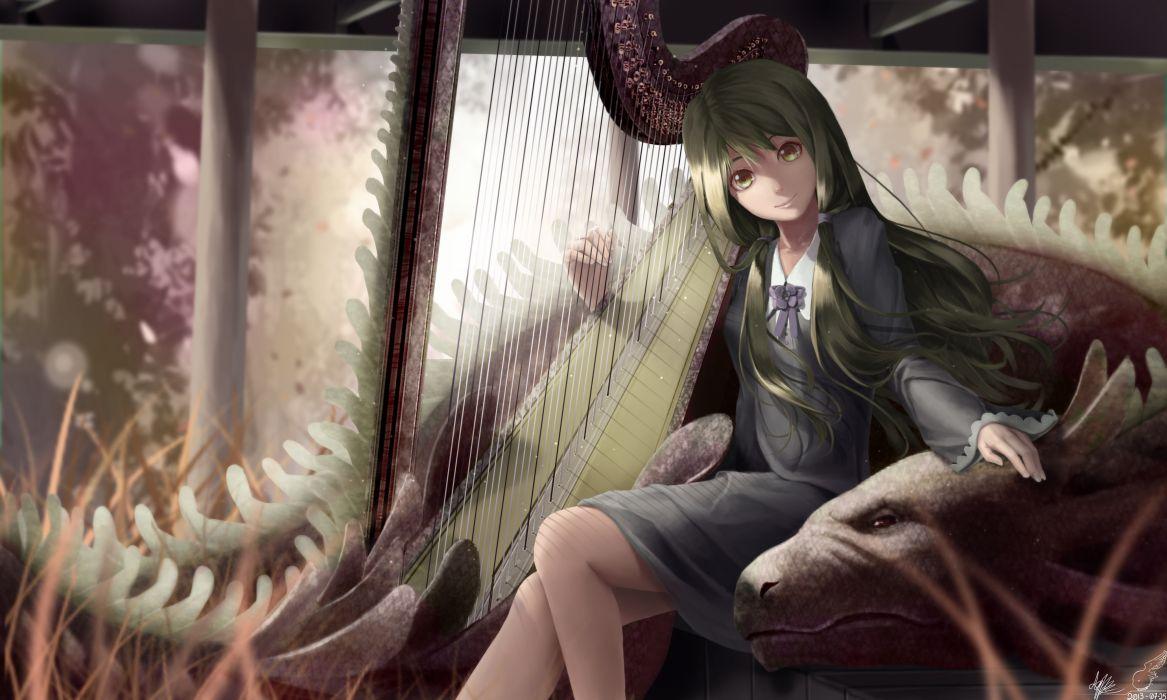 dragon green eyes green hair instrument lepus long hair dragons wallpaper