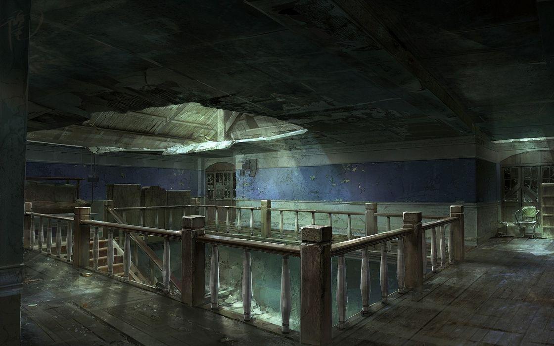 Drawing Light Stairs dark ruins decay wallpaper