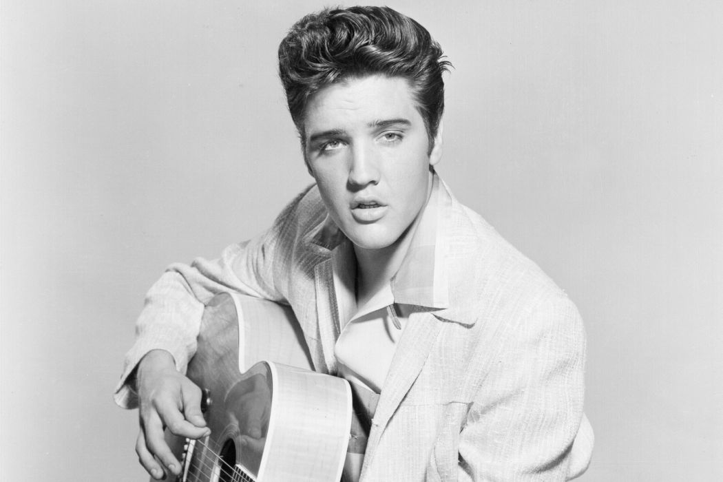 Elvis Presley Rock and Roll music musician singer actor guitar retro black and white eyes beautiful wallpaper