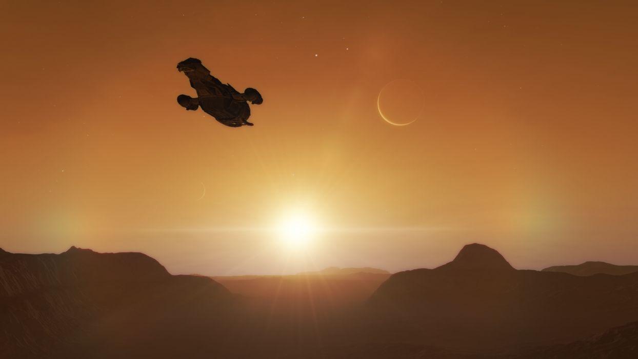 Firefly Serenity Spaceship Starlight Sunlight wallpaper