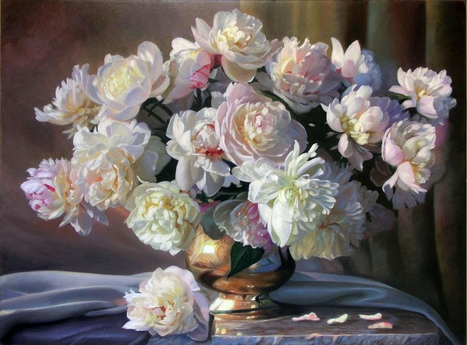 flowers zbigniew kopania painting still life white peonies wallpaper