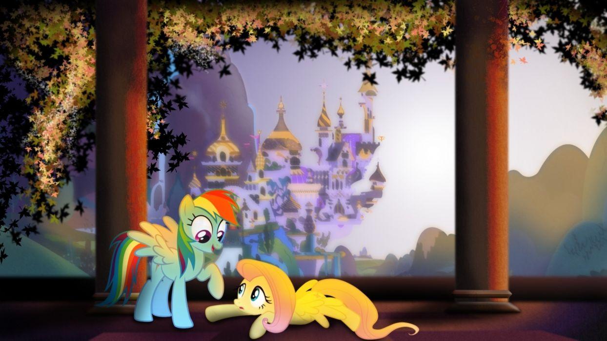 fluttershy ponies rainbow dash my little pony friendship is magic canterlot wallpaper