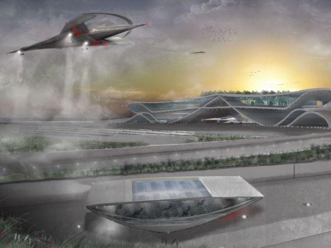 futuristic airport sci-fi airplane spaceship wallpaper