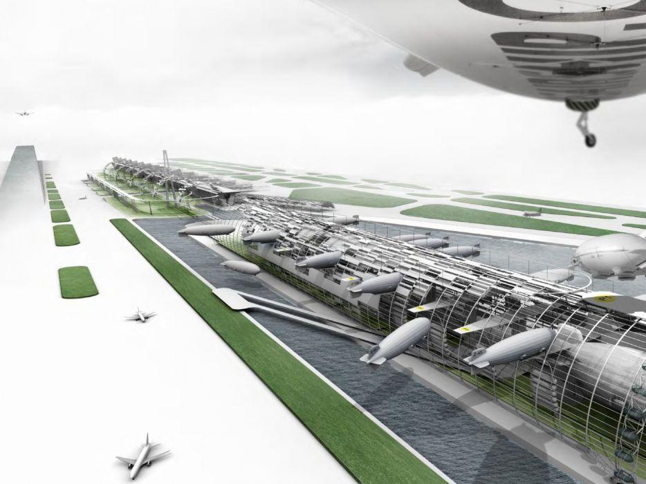 futuristic airport sci-fi airplane wallpaper