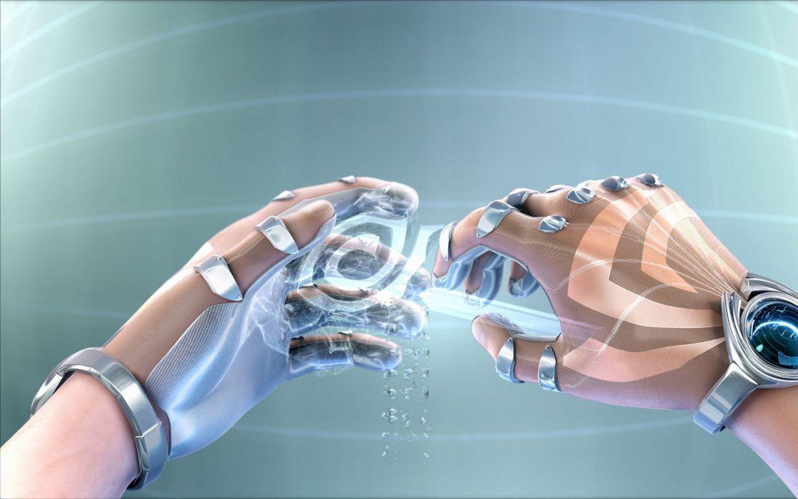 Futuristic Design Hands Nvidia Sculpture Science Fiction