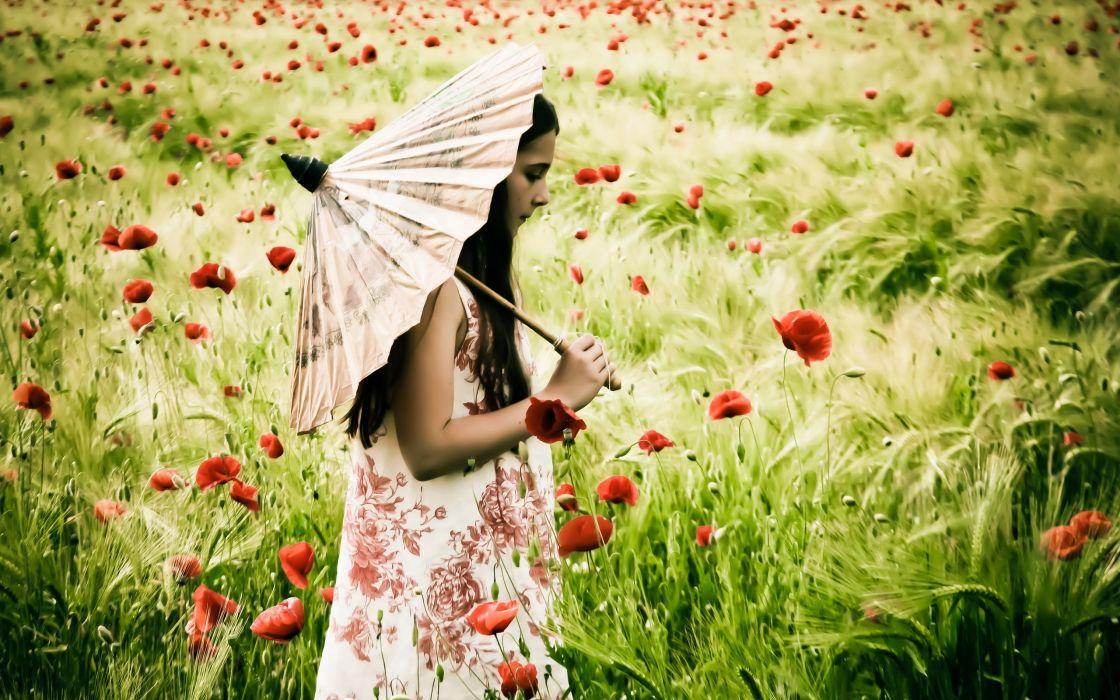 girl  field  poppies  umbrella  mood wallpaper