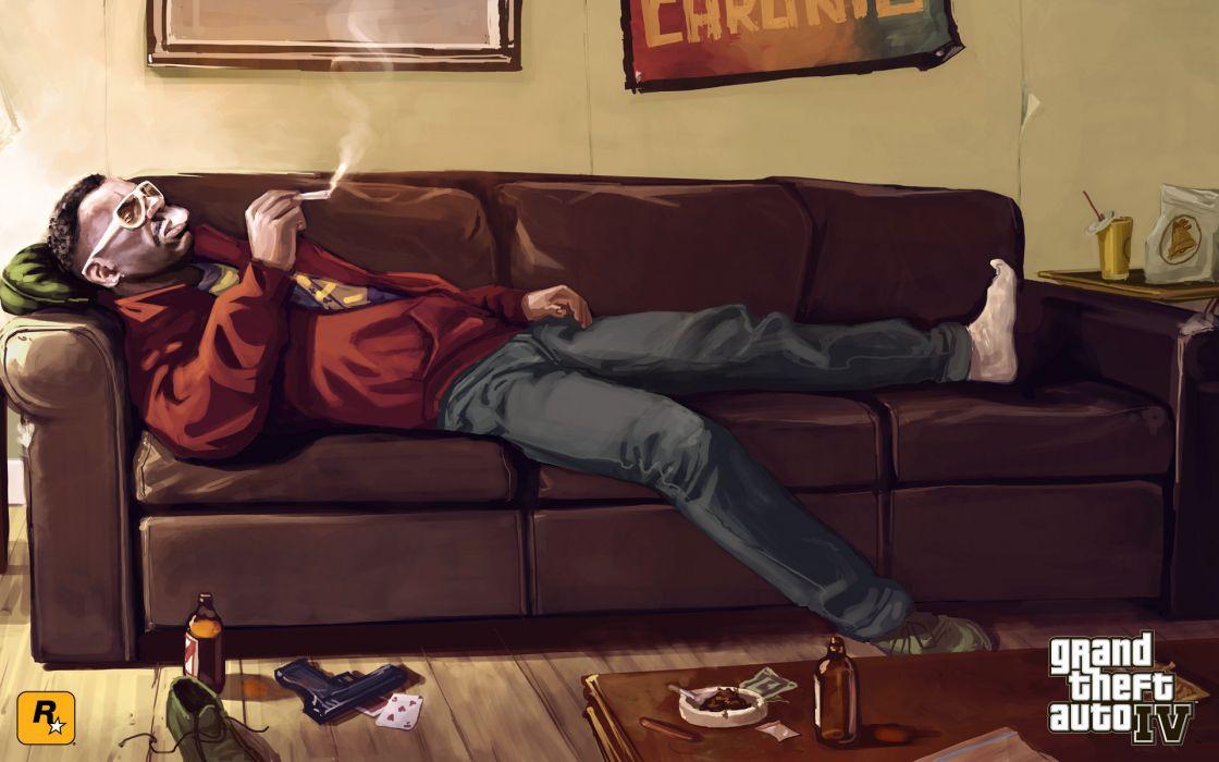 Grand Theft Auto GTA Smoking Drawing wallpaper