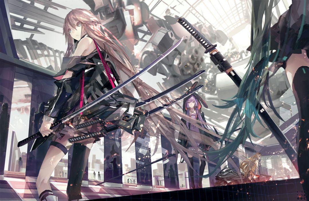 hatsune miku ia katana kiwamu long hair seeu sword thighhighs vocaloid weapon yuzuki yukari wallpaper
