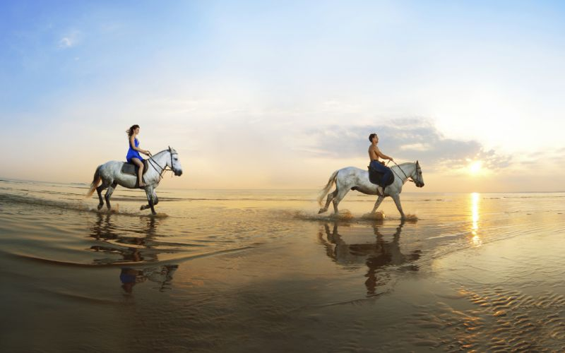 horse sea coast boy girl walk mood wallpaper