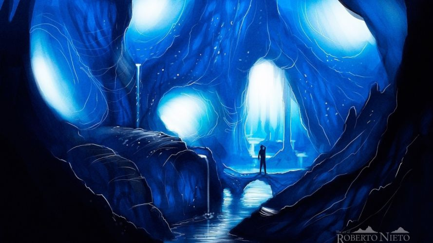 ice landscapes caves silhouettes fantasy art artwork rivers cavern mystical Abstract wallpaper