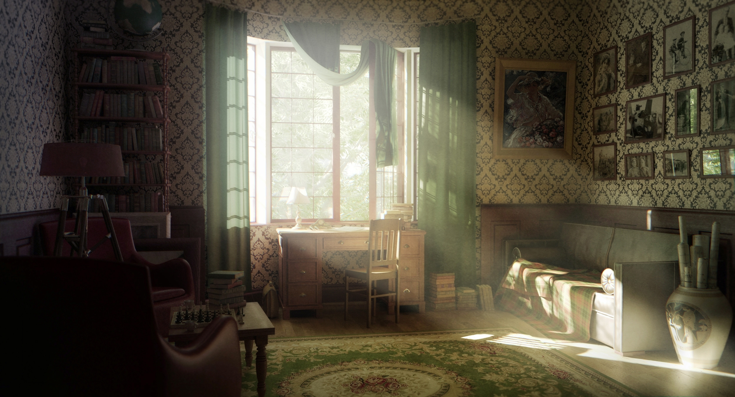 Interior Design Retro Vintage Warm Sunlight Room Wallpaper