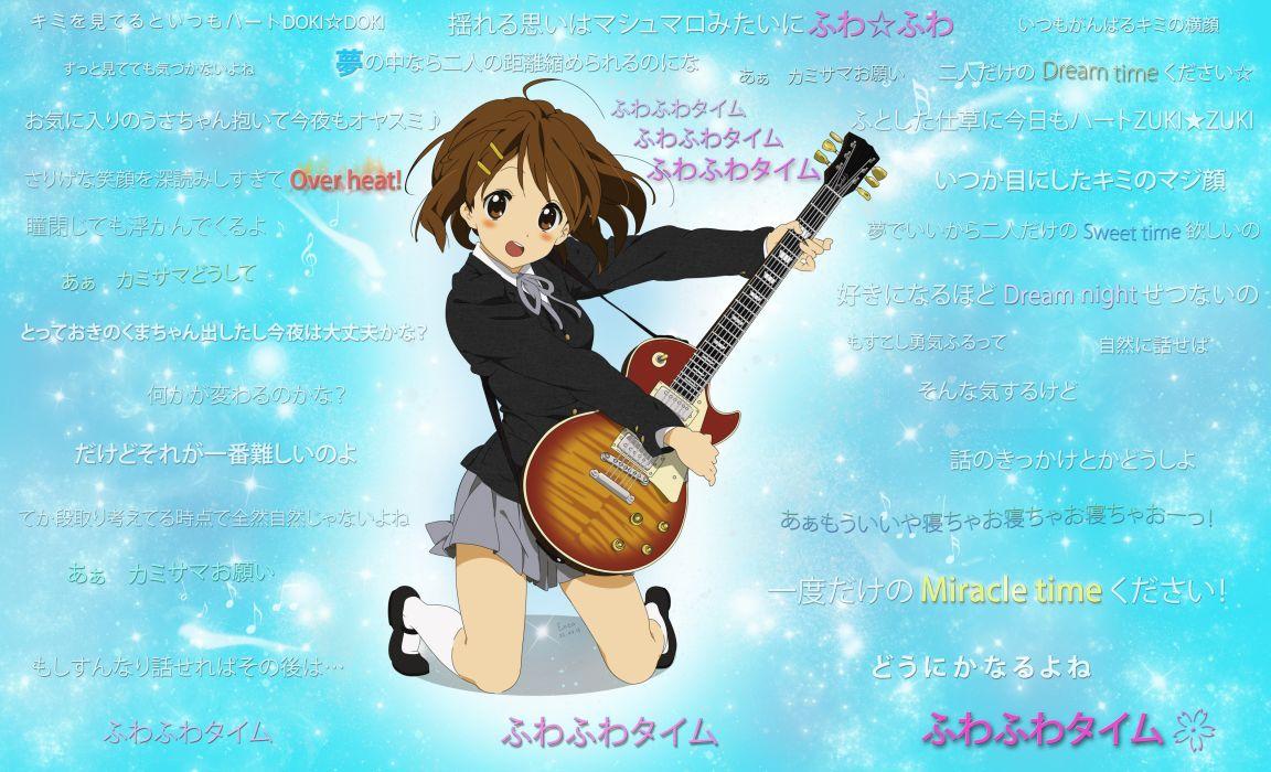 k-on! brown eyes brown hair hirasawa yui instrument k-on! short hair signed socks stars guitar guitars wallpaper
