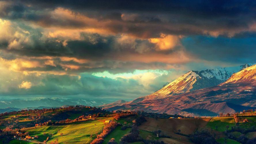 Landscape Mountains Clouds wallpaper