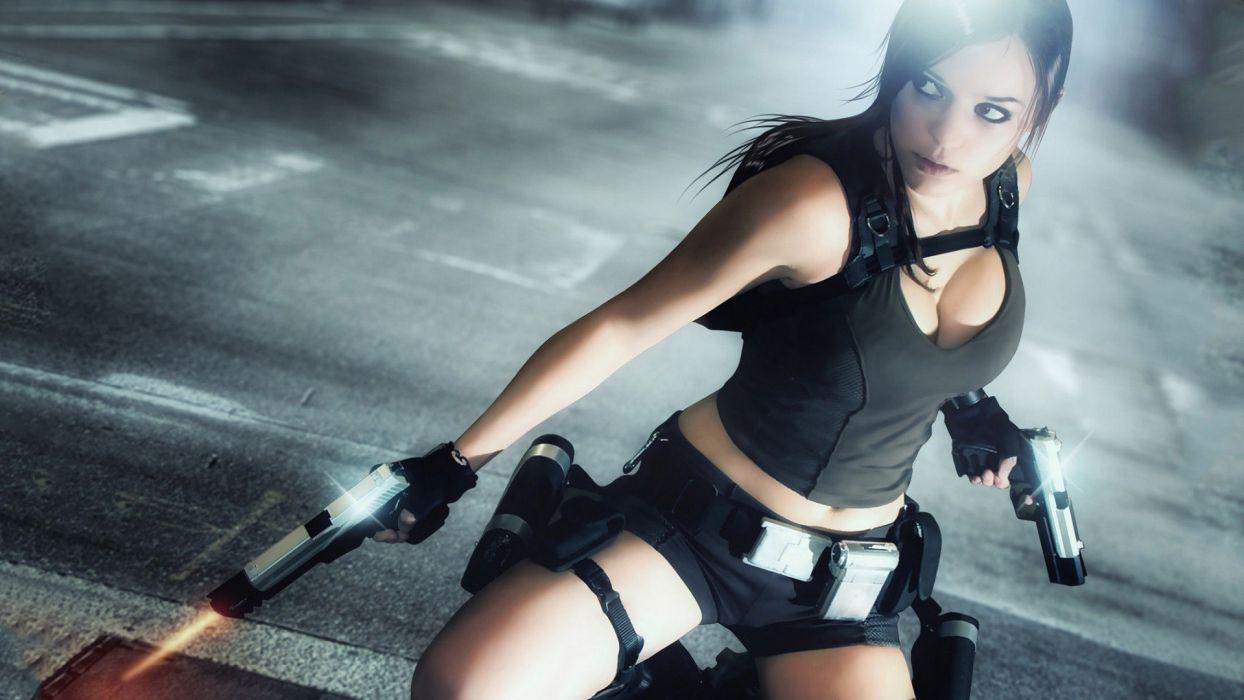 Lara Croft Tomb Raider Cosplay Handgun Brunette Cleavage wallpaper
