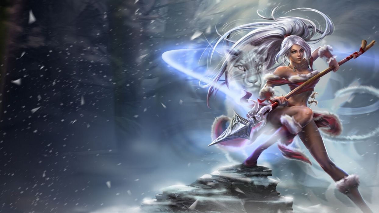 League of Legends  Nidalee  girl  cat  snow  cold  spear fantasy wallpaper