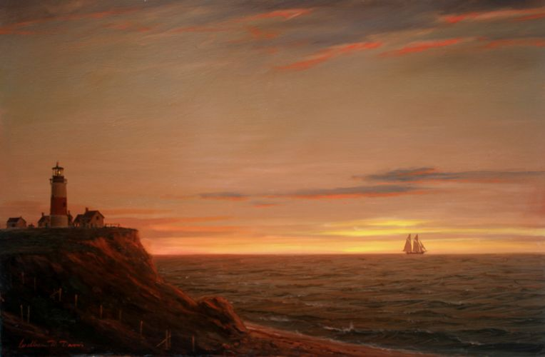 lighthouse william davis painting landscape sea ocean mood ship ships boats boat sunset sky wallpaper