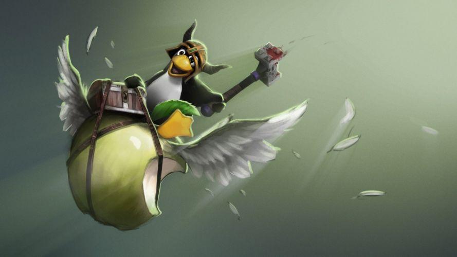 Linux Apple Wings Drawing wallpaper