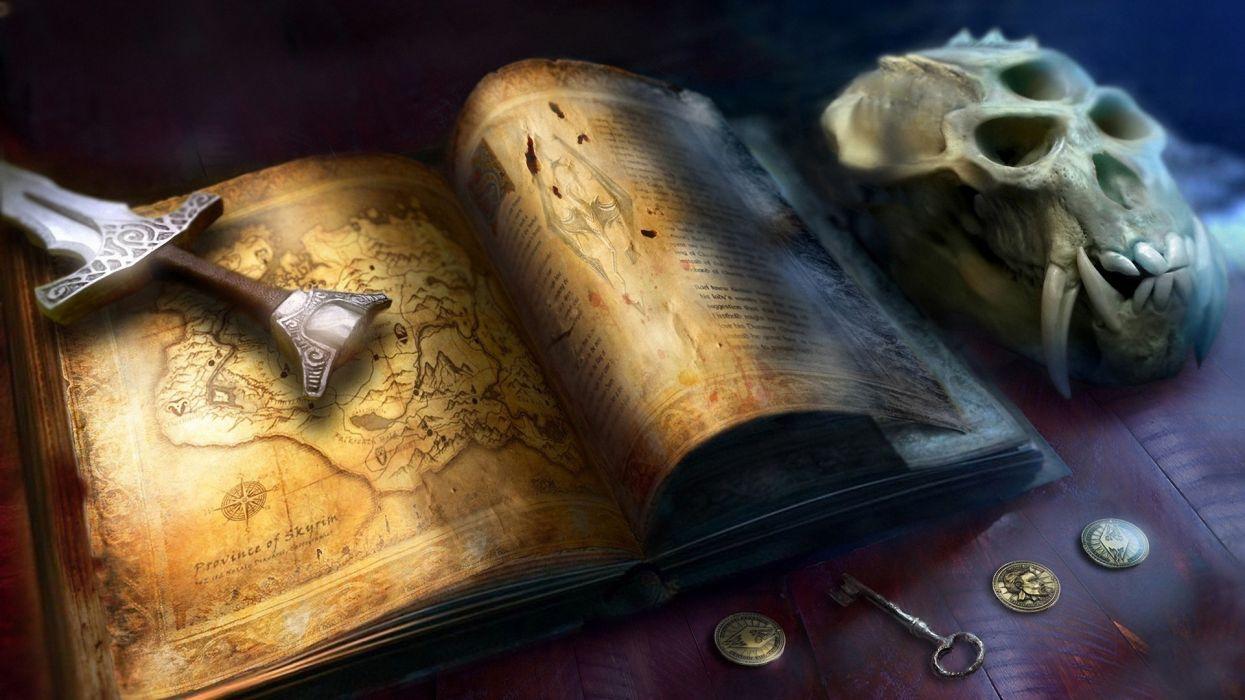 map the elder scrolls sword skyrim skull book fantasy wallpaper