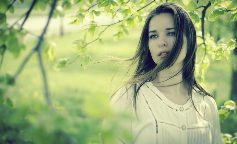 mood girl woman brunette face makeup eyes hair wind time nature leaf tree leaves leaf green wallpaper