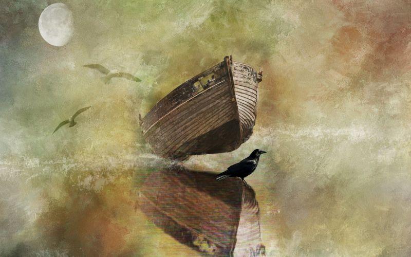 moon bird boat style wallpaper