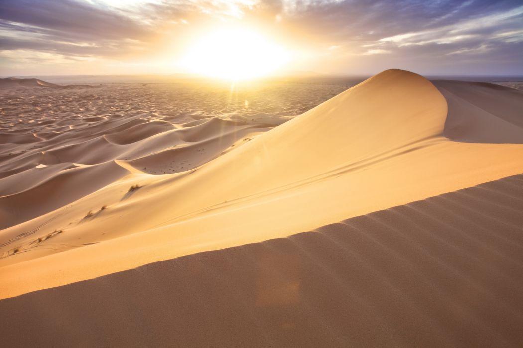 Morocco desert sand dunes sun clouds wallpaper