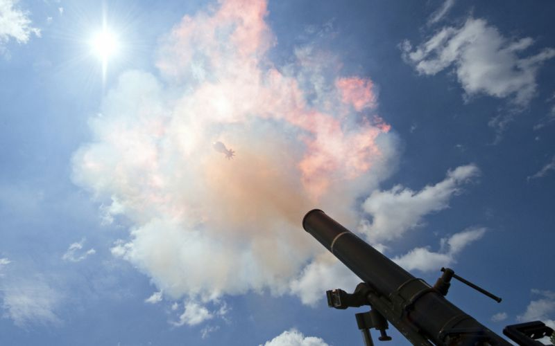 Mortar Sunlight Clouds Stop Action Cannon Blast weapon military bomb wallpaper