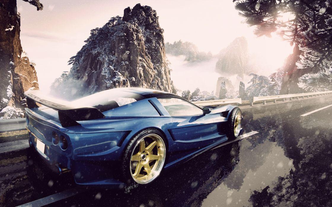 mountains snow cars roads vehicles corvette chevrolet muscle supercar supercars wallpaper