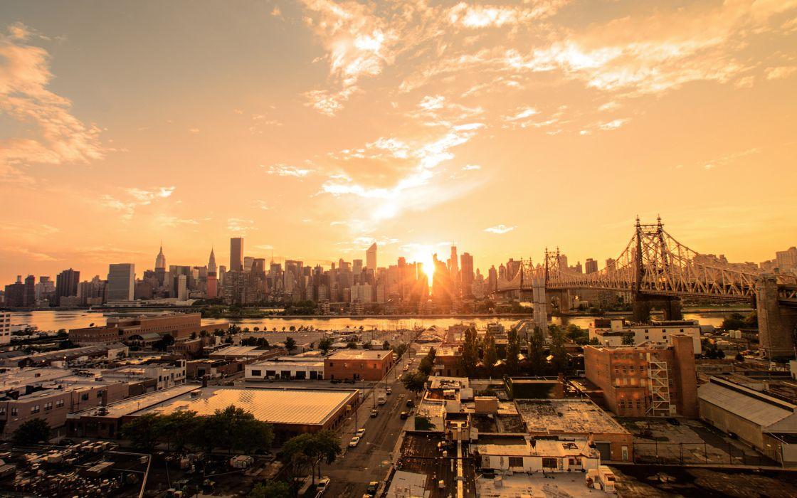 New York Buildings Skyscrapers Sunset Sunlight Bridge wallpaper