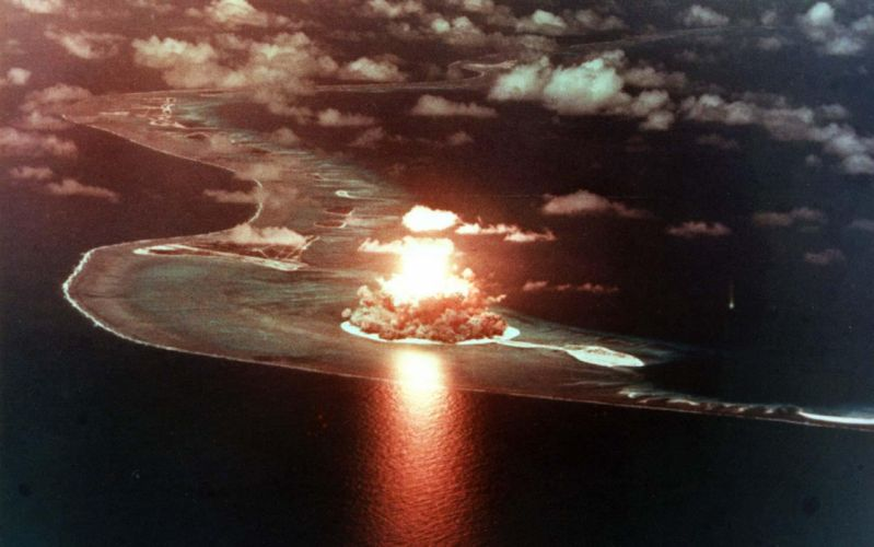 Nuclear Bomb Blast Explosion Aerial dark military wallpaper