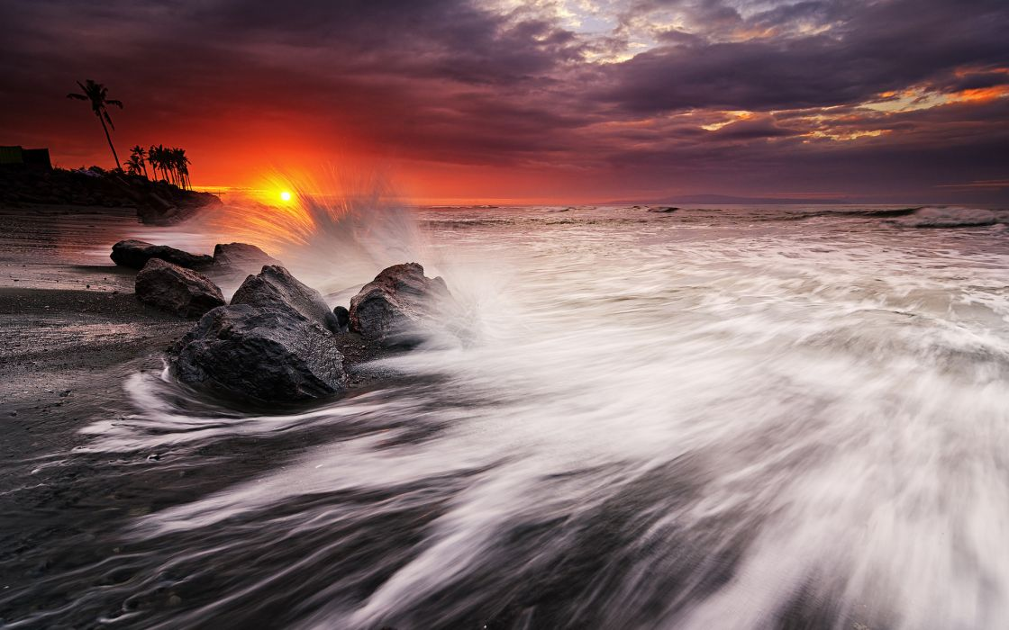 Ocean Sunset Beach Rocks Stones waves wallpaper