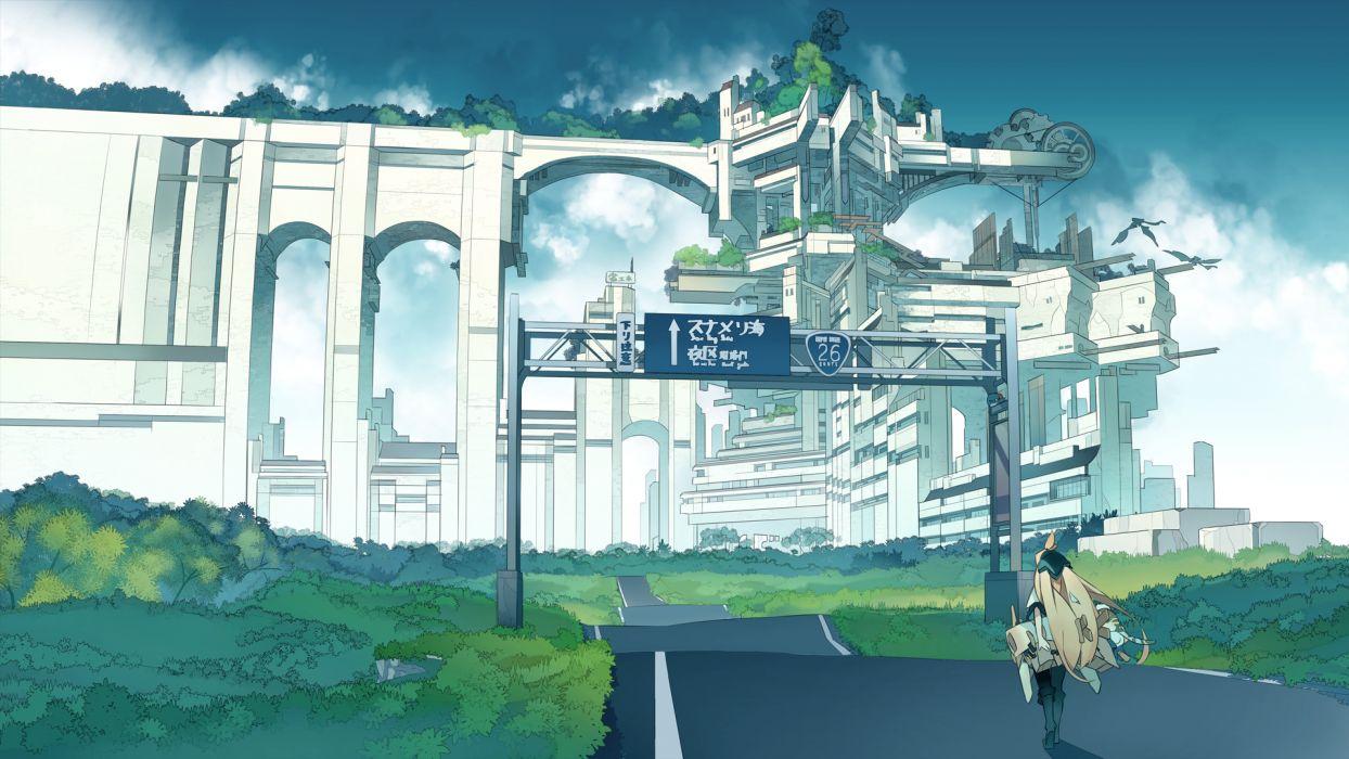 original akitsu taira building city grass original wallpaper